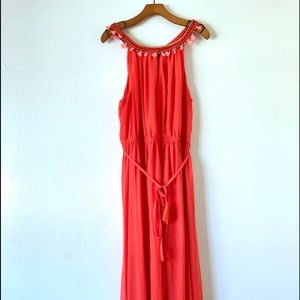 Lane Bryant Coral Occasion Maxi Belted Dress
